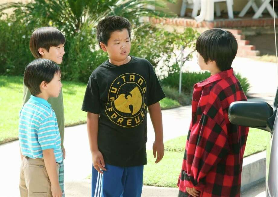 Ian Chen (left), Forrest Wheeler, Hudson Yang, Lance Dae Lim appear in a xxx set in the '' '''' ''90s. Photo: Gilles Mingasson / ABC / ONLINE_YES
