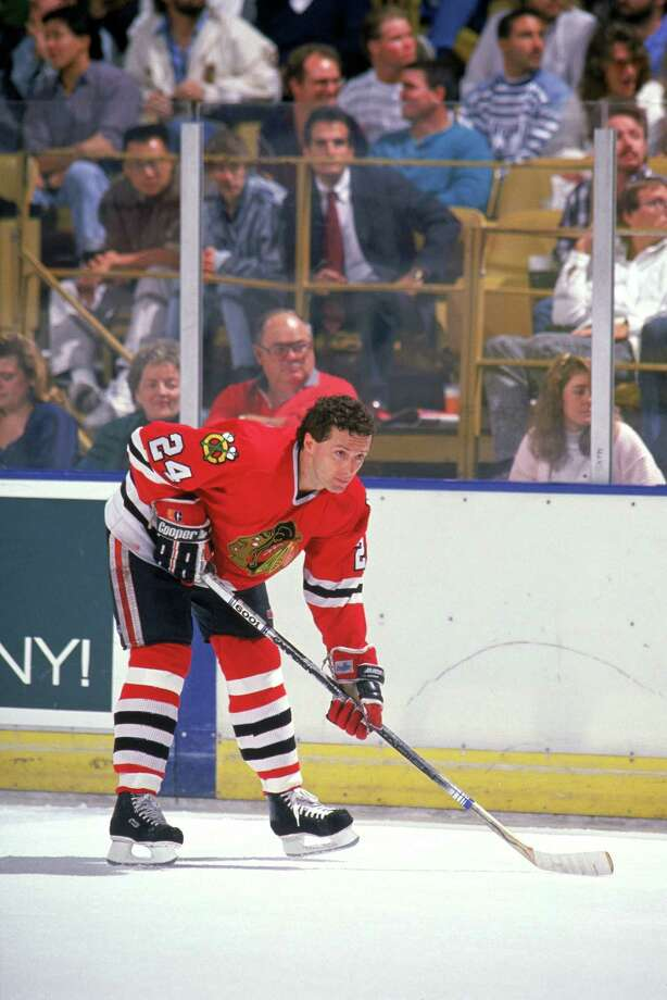 Doug Wilson, then a defenseman with the Chicago Blackhawks, warms up before a game against the Los Angeles Kings at the Great Western Forum during the 1989-90 season. Photo: Mike Powell / Getty Images / Getty Images North America