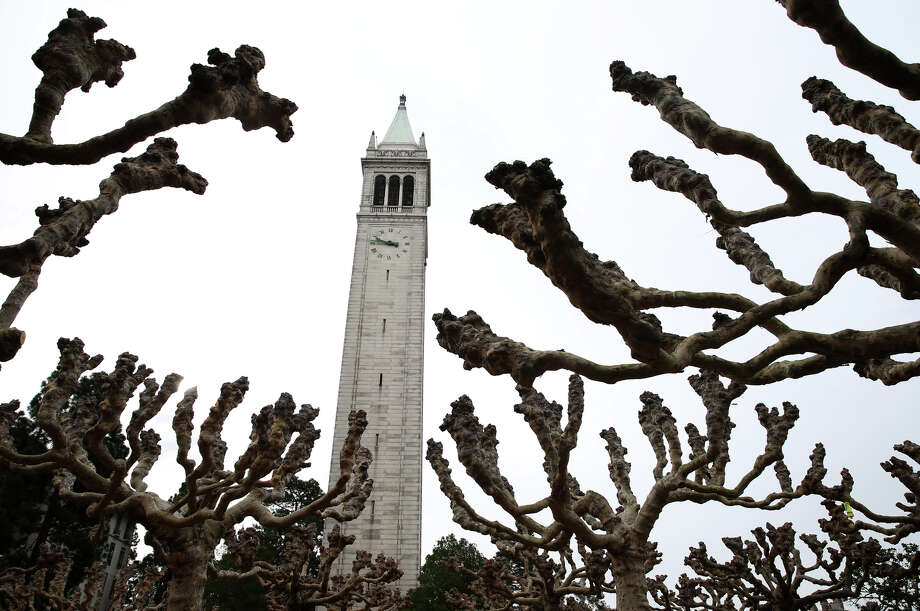 combo cap for coverSather Tower rises above rows of trees near its base at UC Berkeley on Tuesday, Jan. 27, 2015. The university is commemorating the 100th birthday of the 307-foot tower, which is commonly known as the Campanile. Photo: Paul Chinn / The Chronicle / ONLINE_YES
