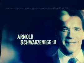 Actor and former Gov. Arnold Schwarzenegger is shown in a YouTube promo for a 60-second radio ad to air on station KNBR. The spot highlights the San Francisco Super Bowl 50 Host Committee's charity efforts.