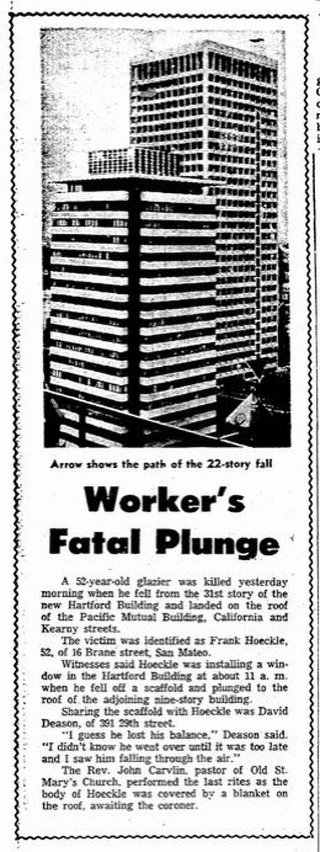 A July 31, 1965 report about a death during construction of the Hartford Building. Photo: Chronicle File, The Chronicle