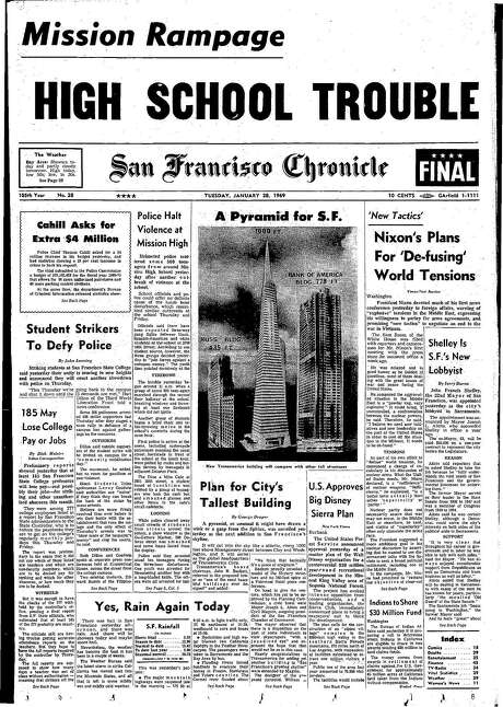 This Chronicle front page from Jan. 28, 1969, covers the announcement of plans for the Transamerica Pyramid. Photo: Chronicle File, The Chronicle 1969