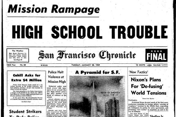 This Chronicle front page from Jan. 28, 1969, covers the announcement of plans for the Transamerica Pyramid.