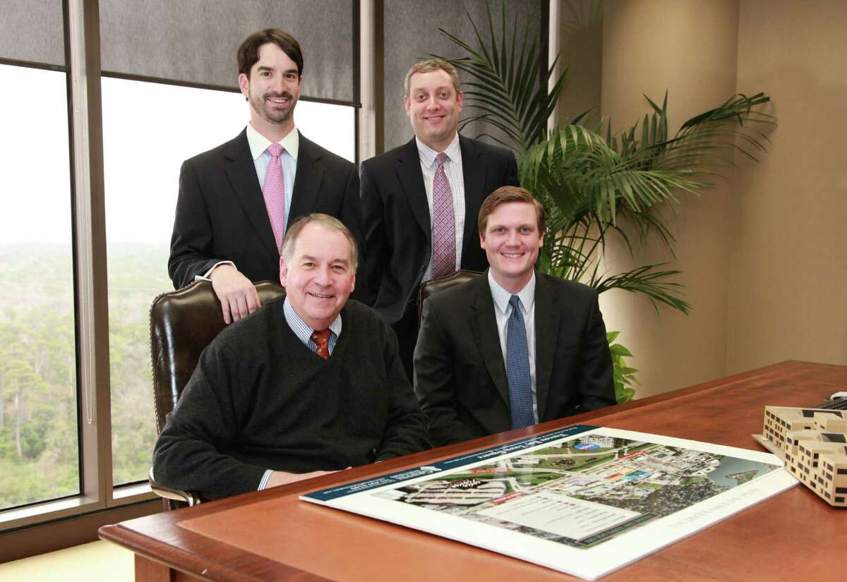 Twelve brokers from Griffin Associates have joined the newly opened Houston office of Lee & Associates. Chris Lewis, standing on the left, is managing principal, and Josh Cheatham, standing on the right, is a principal. Seated are principals Drew Lewis, left, and Travis Taylor.