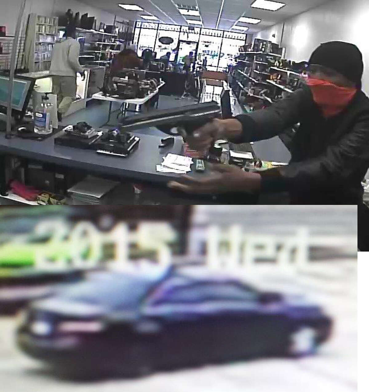 The three suspects in a pawn shop robbery are described as black males and left in a black Toyota Camry with a hubcap missing on the right wheel.