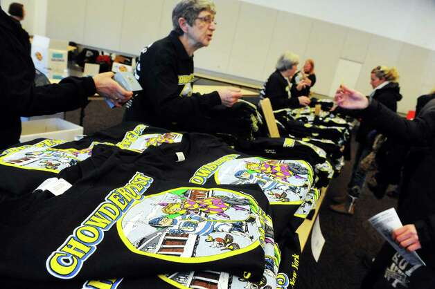Event t-shirts for sale at the Saratoga City Center during the 17th Annual Saratogaa€™s Chowderfest on Saturday Jan. 31, 2015 in Saratoga Springs, N.Y. (Michael P. Farrell/Times Union) Photo: Michael P. Farrell / 00030395A