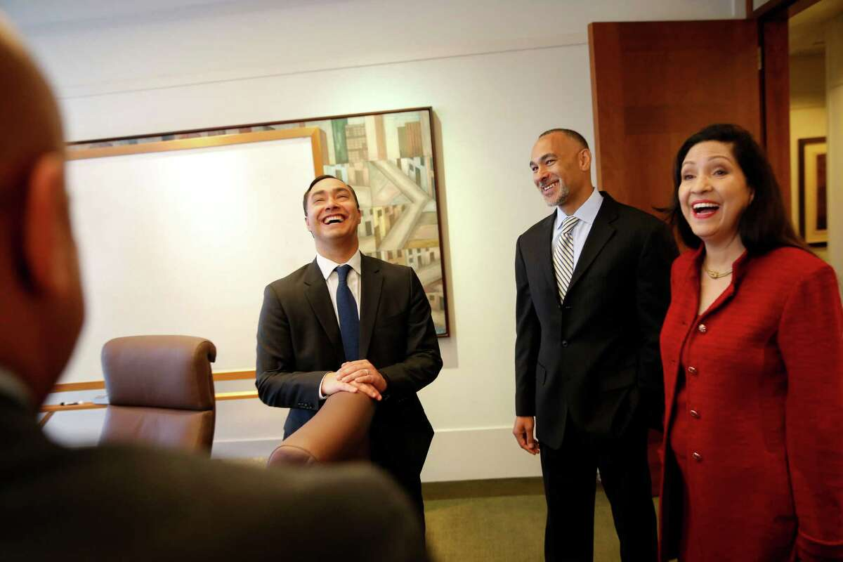Rep. Joaquin Castro shares a laugh with others at an event hosted by Matt Johnson (center right) at Ziffren Bittenham LLP.