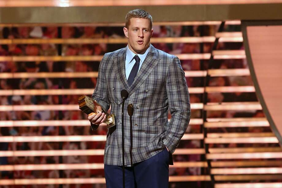 PHOENIX, AZ - JANUARY 31:  J.J. Watt is named Defensive Player of the Year at the 2015 NFL Honors at Phoenix Convention Center on January 31, 2015 in Phoenix, Arizona.  (Photo by Taylor Hill/Getty Images) Photo: Getty Images