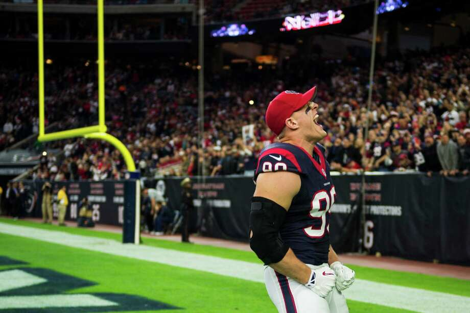 Houston Texans defensive end J.J. Watt lets out a yell before an NFL football game against the Jacksonville Jaguars at NRG Stadium on Sunday, Dec. 28, 2014, in Houston. ( Smiley N. Pool / Houston Chronicle ) Photo: Smiley N. Pool, Staff / © 2014  Houston Chronicle