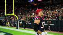 Houston Texans defensive end J.J. Watt lets out a yell before an NFL football game against the Jacksonville Jaguars at NRG Stadium on Sunday, Dec. 28, 2014, in Houston. ( Smiley N. Pool / Houston Chronicle )