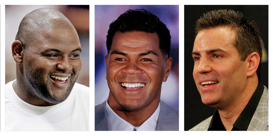 FILE - From left are Orlando Pace in a 2006 file photo, Junior Seau in a 2006 file photo and and Kurt Warner in a 2010 file photo. All three, in their first year of eligibility, are among the finalists for the Pro Football Hall of Fame's class of 2015, that will be announced Saturday, Jan. 31, 2015. (AP Photo/File) Photo: Uncredited, STF / AP