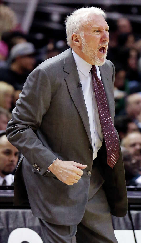 San Antonio Spurs head coach Gregg Popovich reacts after a play during first half action against the Los Angeles Clippers Saturday Jan. 31, 2015 at the AT&T Center. Photo: Edward A. Ornelas, San Antonio Express-News / © 2015 San Antonio Express-News