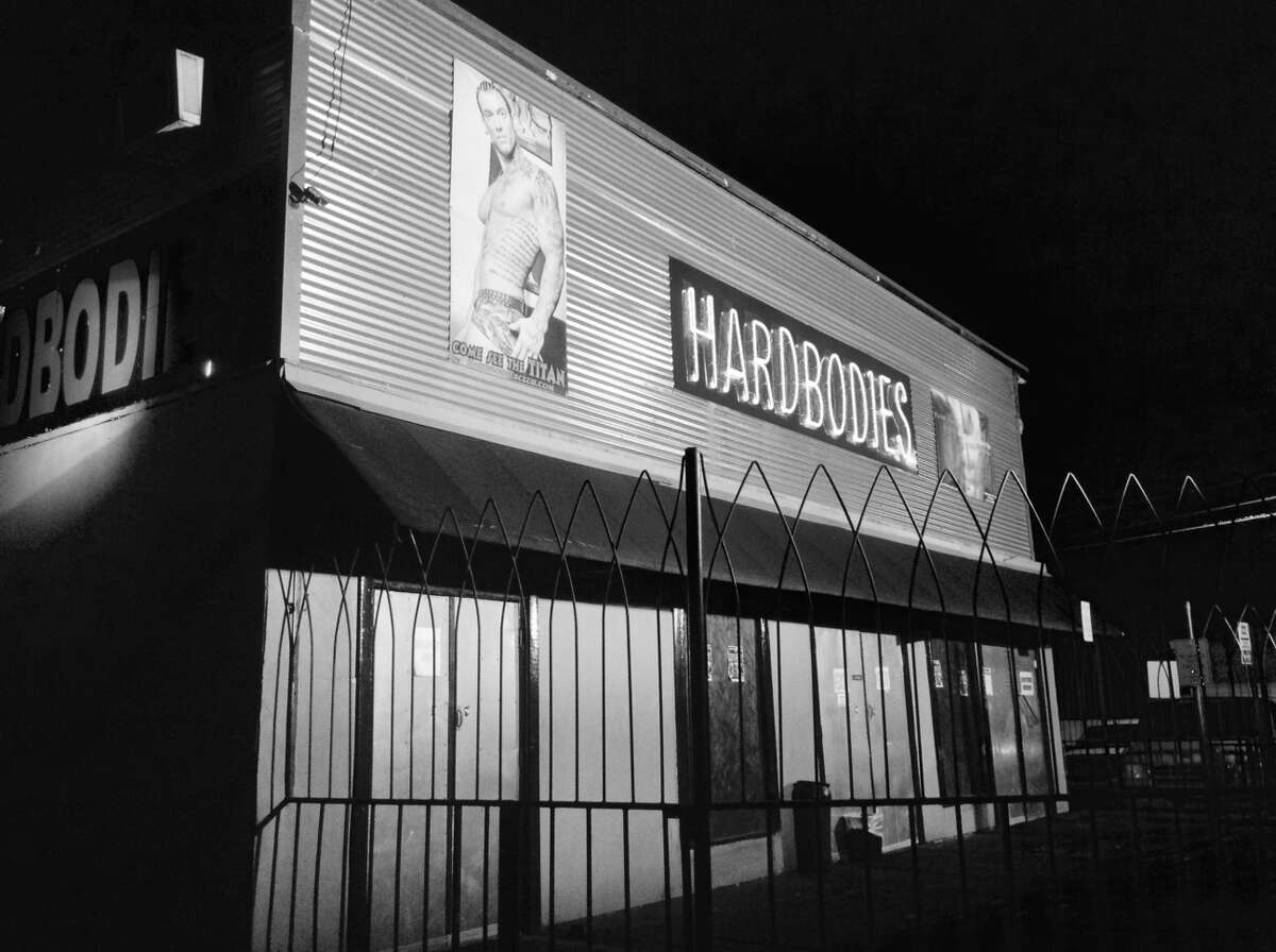 The Hardbodies sign that's graced the St. Mary's strip for years was removed Wednesday night.