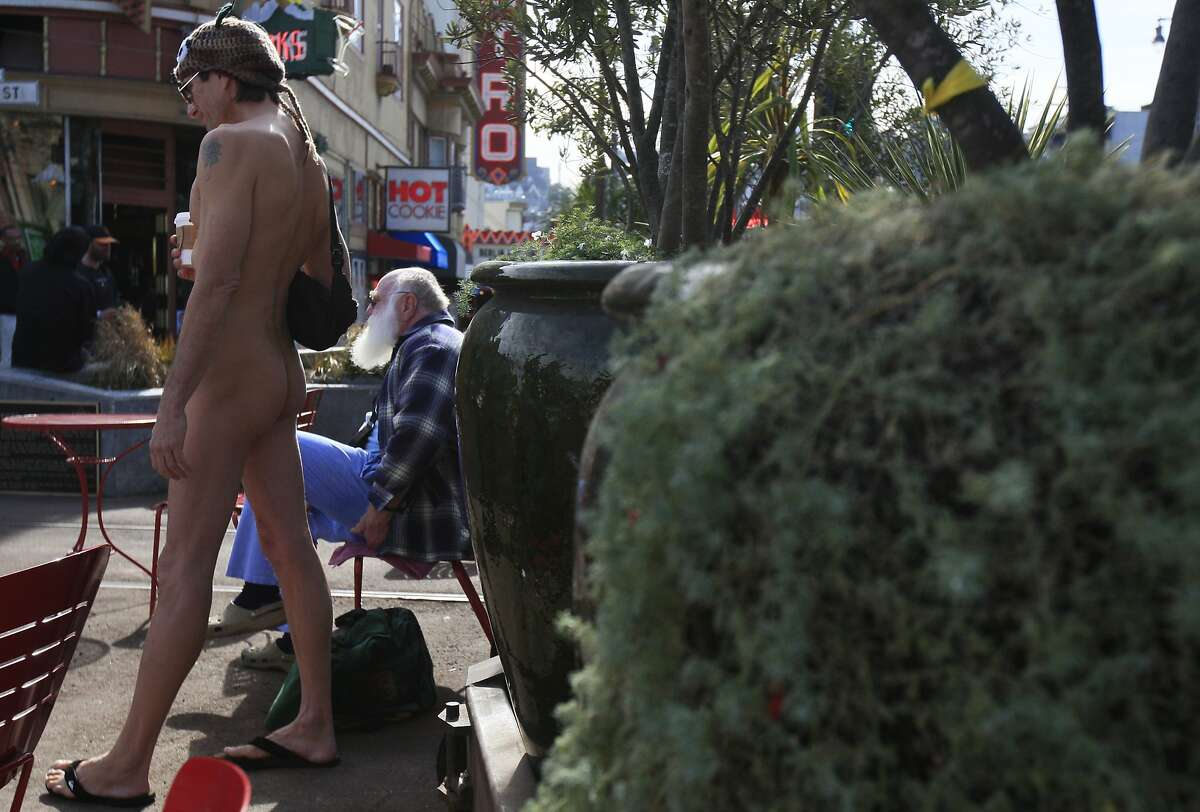 Lloyd Fishback of San Francisco joins fellow nudity supporters during a protest against San Francisco's no-nudity law held on the ban's second anniversary Sunday, February 1, 2015 at Jane Warner Plaza in the Castro District of San Francisco, Calif.