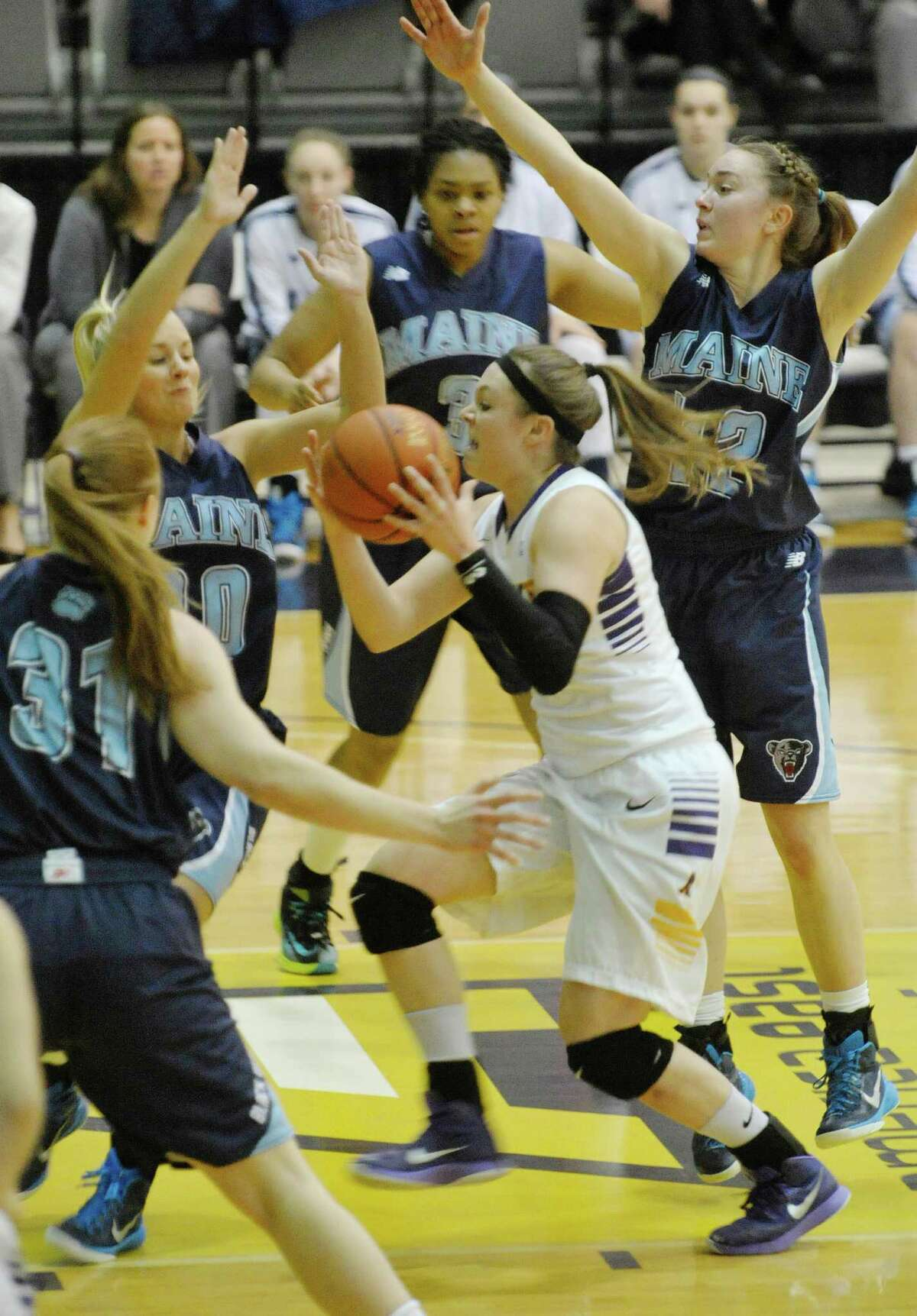 Sarah Royals of UAlbany drives towards the basket during their game against Maine on Sunday, Feb. 1, 2015, in Albany, N.Y. (Paul Buckowski / Times Union)