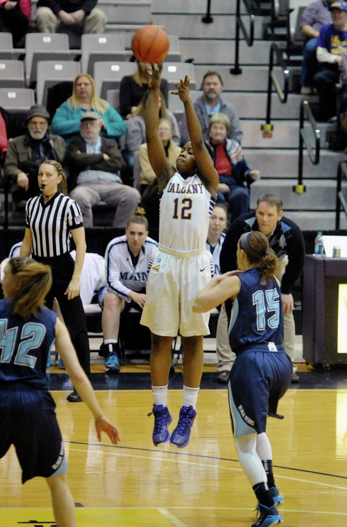 ImaniTate of UAlbany puts up a shot during their game against Maine on Sunday, Feb. 1, 2015, in Albany, N.Y. (Paul Buckowski / Times Union)
