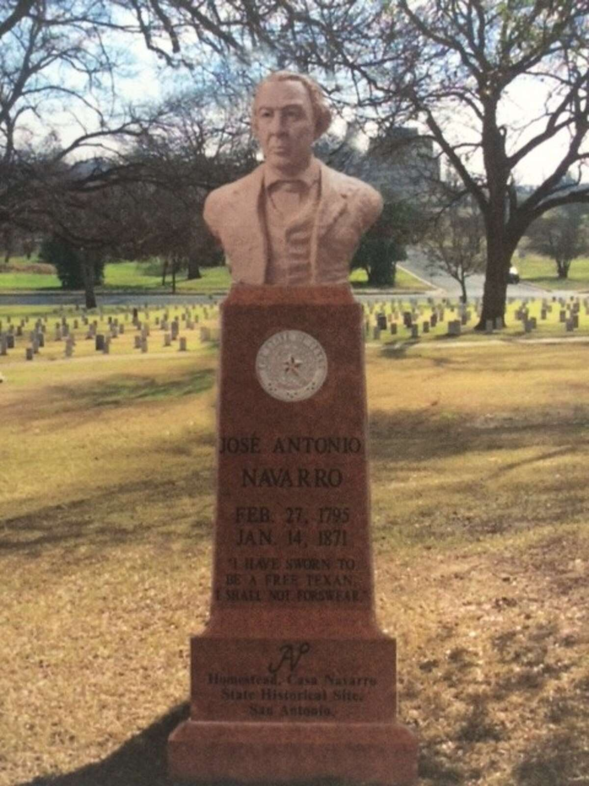 A conceptual rendering depicts the monument honoring Texas founding father Jose Antonio Navarro that is to be unveiled at the State Cemetery.