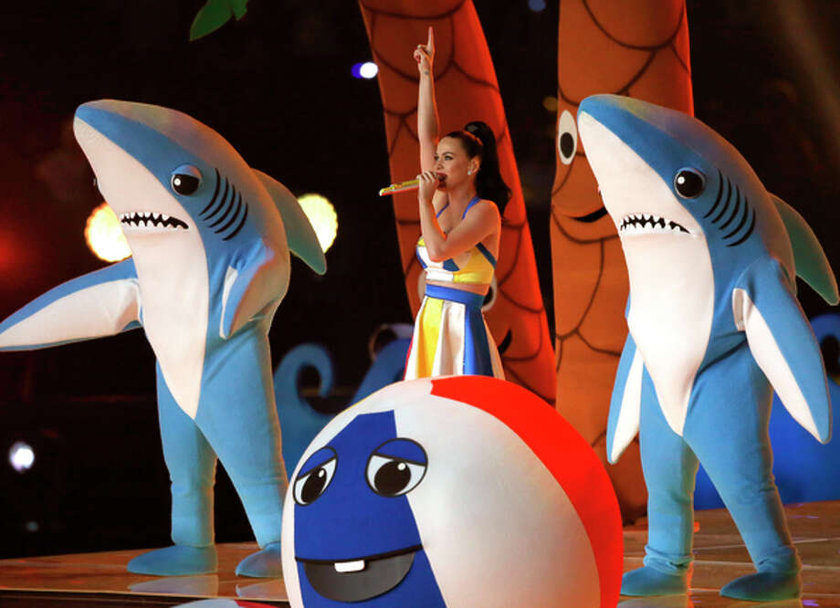 Sharks join singer Katy Perry during the Super Bowl halftime show in February. Photo: Andy Lyons / Getty Images / 2015 Getty Images