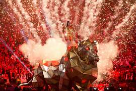 Katy Perry performs at halftime during the Super Bowl XLIX Sunday, February 1, 2015, at University of Phoenix Stadium in Glendale, Arizona. (Jordan Stead, seattlepi.com)