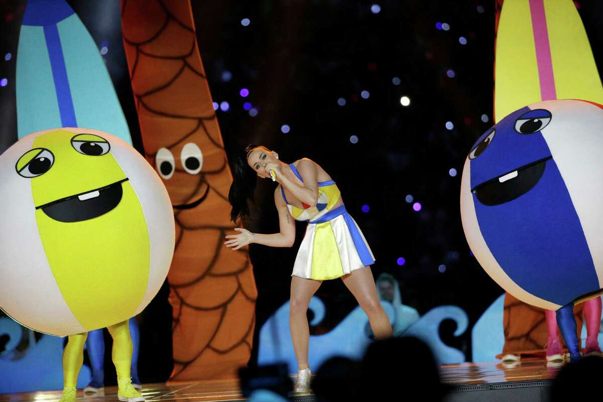 Singer Katy Perry performs during halftime of NFL Super Bowl XLIX football game between the Seattle Seahawks and the New England Patriots Sunday, Feb. 1, 2015, in Glendale, Ariz.