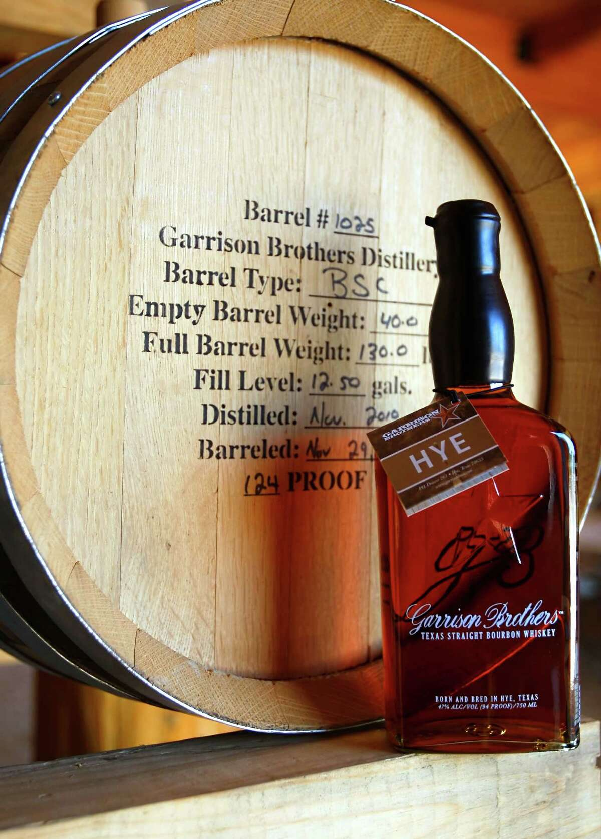 A bottle of Garrison Brothers bourbon at the Hye distillery.