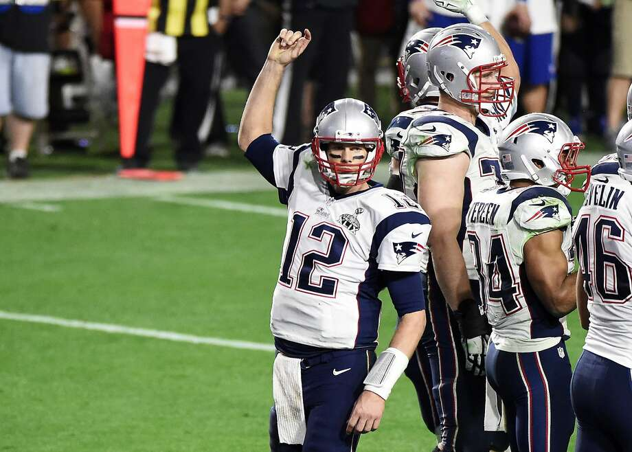 Tom Brady of the New England Patriots celebrates in the final seconds against the Seattle Seahawks in the fourth quarter during Super Bowl XLIX at University of Phoenix Stadium on February 1, 2015 in Glendale, Arizona. Photo: Harry How, Getty Images
