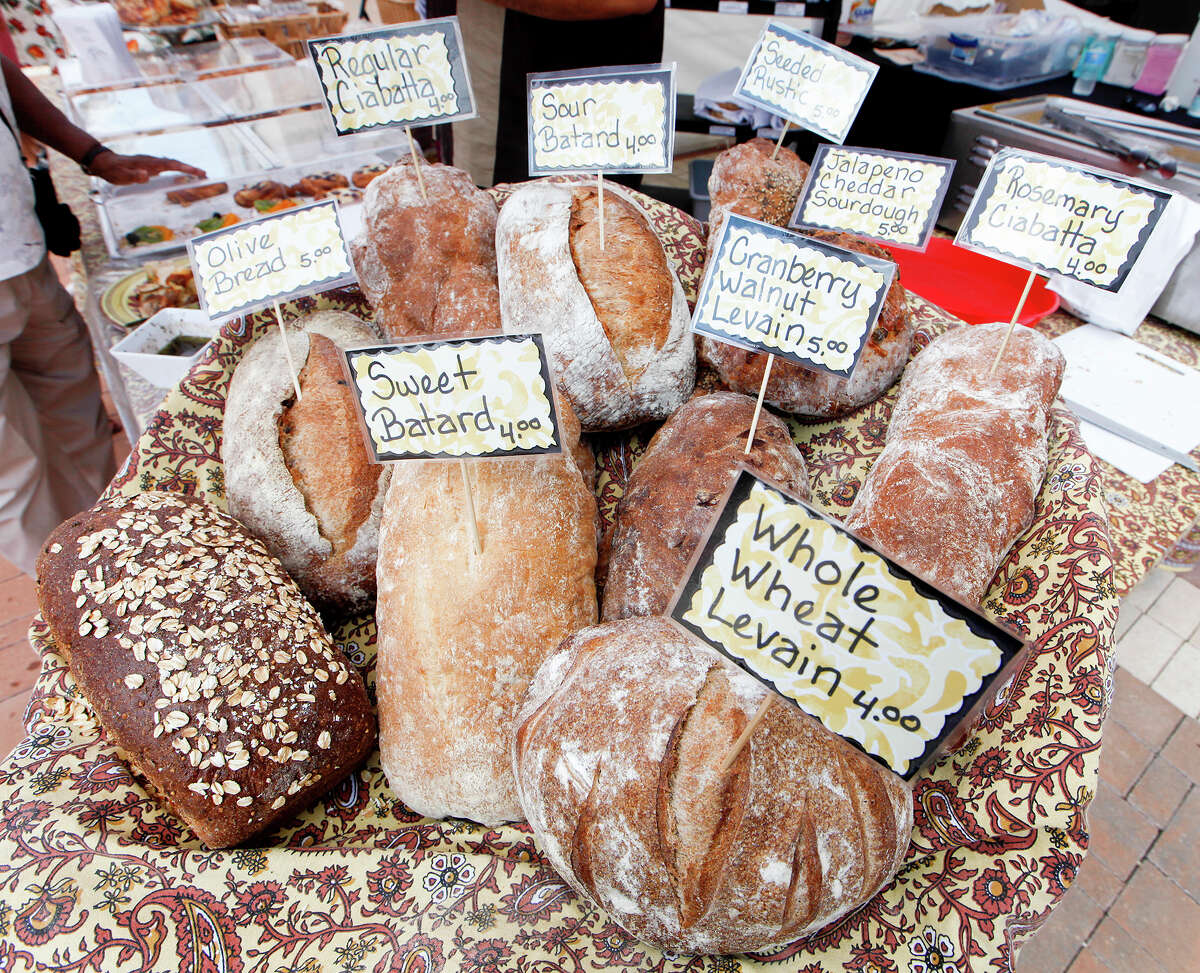 A selection of freshly baked breads offered by local bakery Sol y Luna Baking Co.