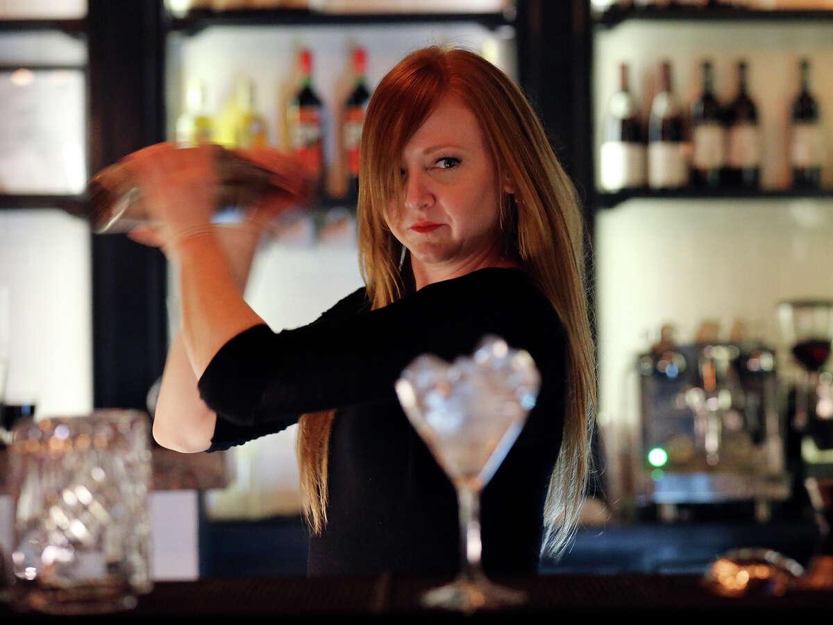 Barbaro bar manager Elisabeth Forsythe prepares a drink at Barbaro.