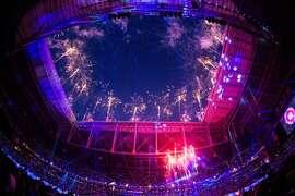 Fireworks explode over pop star sensation Katy Perry's performance during Super Bowl XLIX's Halftime Show Sunday, February 1, 2015, at University of Phoenix Stadium in Glendale, Arizona. (Jordan Stead, seattlepi.com)