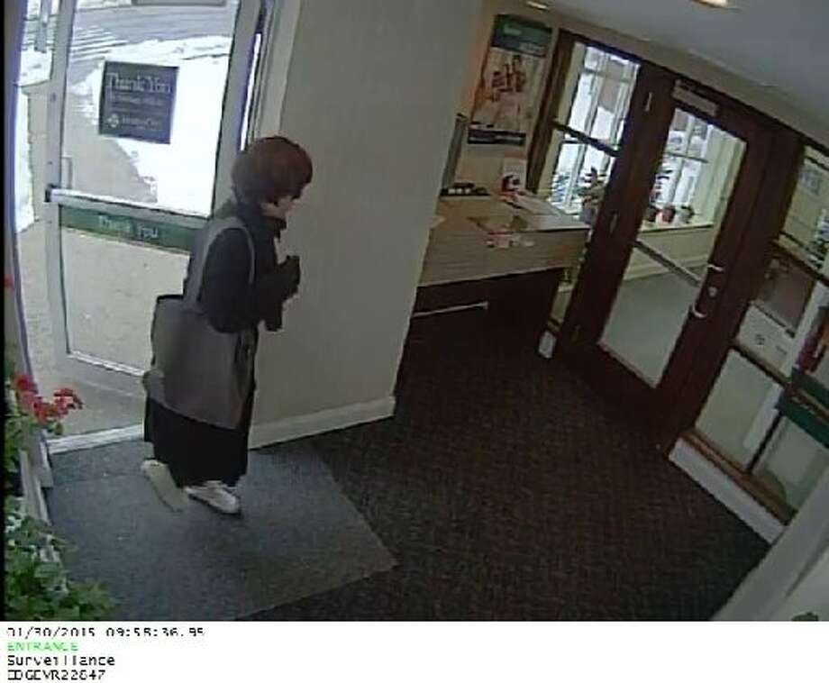 On Friday, Jan. 30 this female was captured on video making her way to the Greenwich Bank and Trust teller window in Riverside sometime midday on was on her way to confront a bank teller for cash at gunpoint.
