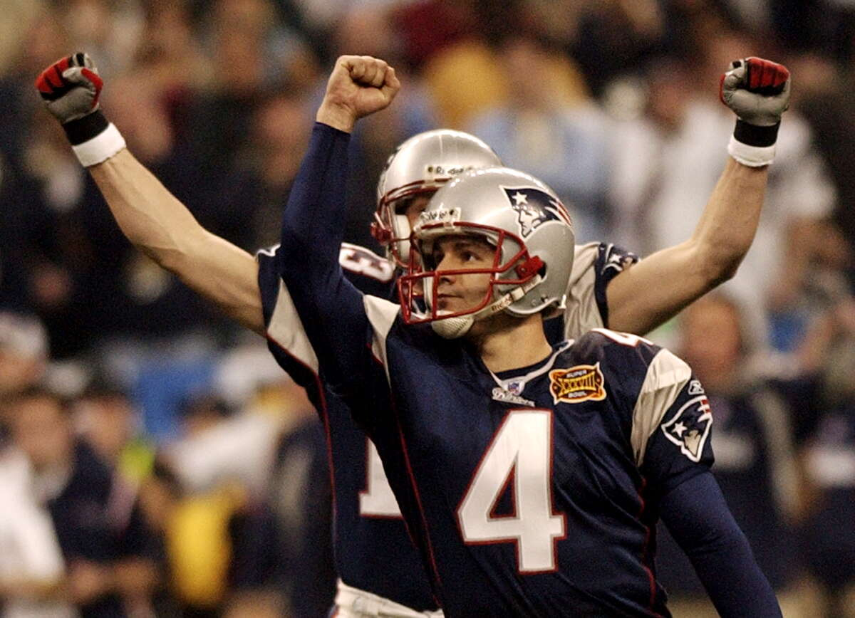 Adam Vinatieri twice won Super Bowls for the Patriots with last-second kicks, including one at NRG Stadium in 2004.