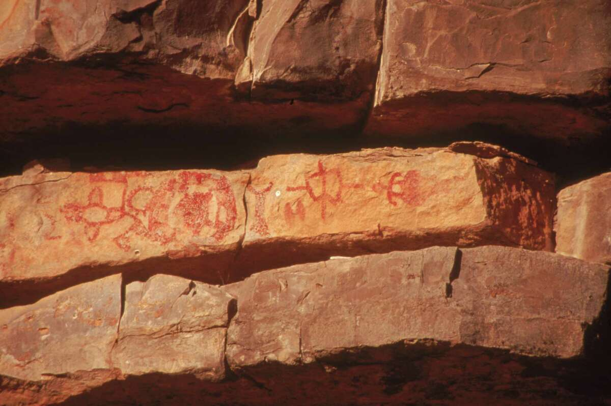 Paint Rock: Closer views of the wide variety of pictographs at the Campbell Ranch near Paint Rock.