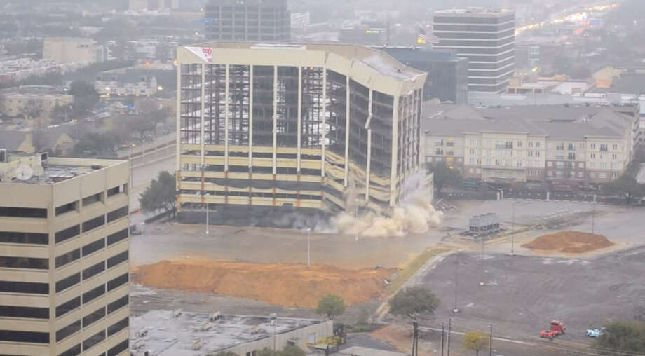 The former Xerox/Affiliated Computer Services building along the Central Expressway in Dallas was imploded Feb. 1, 2015, to make way for retail development. Photo: Brandon Fields Via YouTube