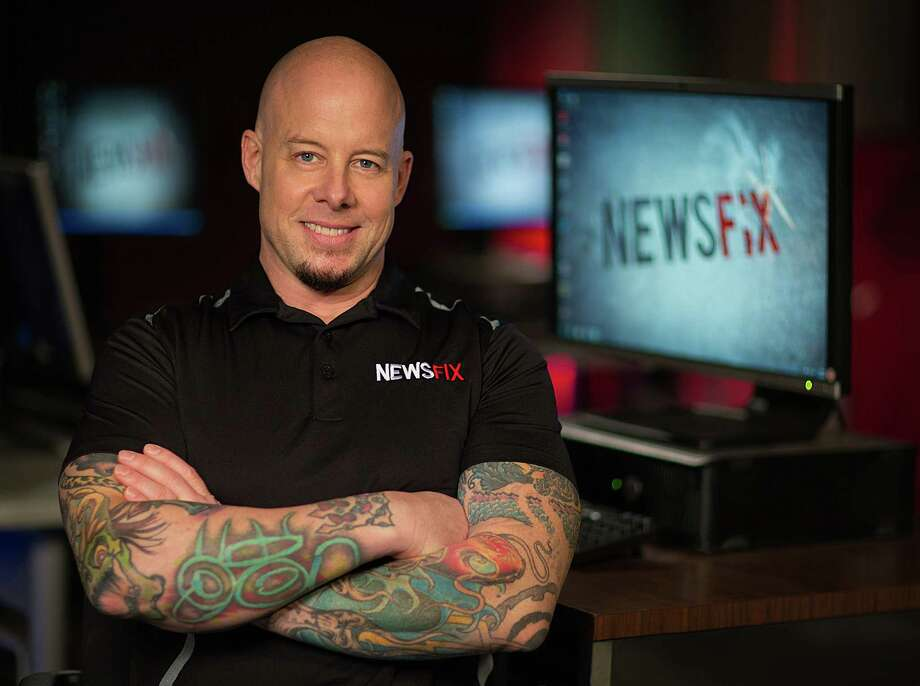 Greg Onofrio -- he prefers just  Grego -- isn't your typical tie-and-jacket, clean-shaven, straight-arrow news anchorman in Houston. His tattooed arms are  smack in viewers'  faces on Channel 39's quirky newscast, the 9 p.m.  NewsFix. Photo: Colin Kirkpatrick