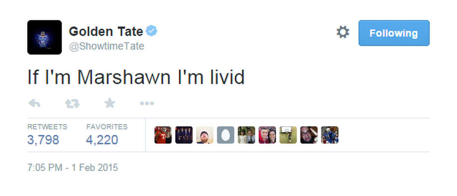 Former Seattle Seahawks and current Detroit Lions receiver Golden Tate. Photo: Screenshot, Twitter
