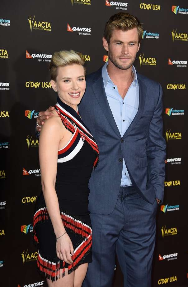 Actress Scarlett Johansson and actor Chris Hemsworth arrives at the 2015 G'Day USA Gala Featuring The AACTA International Awards Presented By QANTAS at the Hollywood Palladium on January 31, 2015 in Los Angeles, California. Photo: Frazer Harrison, Getty Images