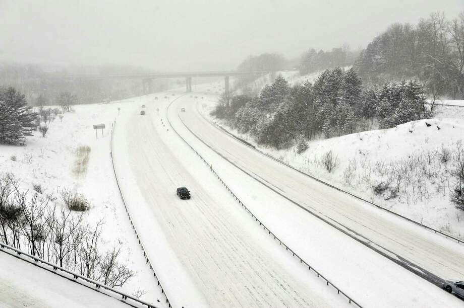 A view of Interstate 90 as snow continued to fall on Monday, Feb. 2, 2015, in Albany, N.Y.  (Paul Buckowski / Times Union) Photo: Paul Buckowski / 00030427A