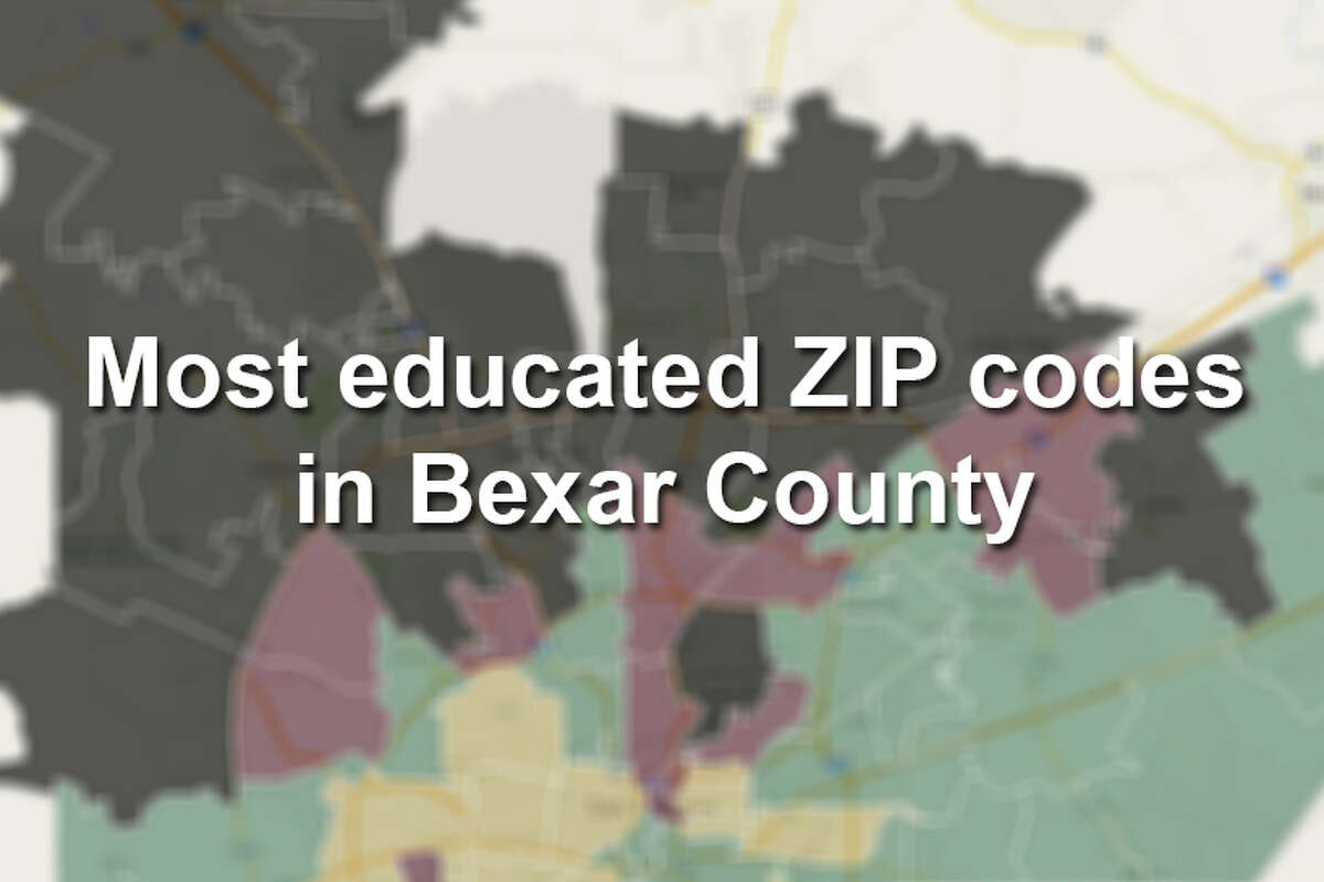 In these 23 Bexar County ZIP codes, over one-third of the population have a bachelor's degree or higher. Color code: Tan = 0-12.125% Green = 12.125-24.25% Pink = 24.25-33% Black = 33-74%