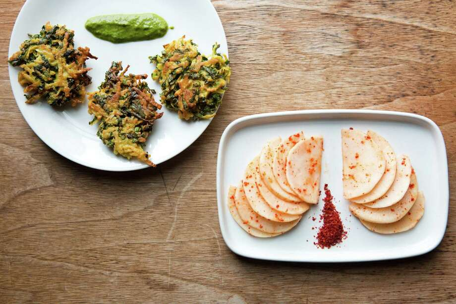 Kohlrabi fritters with cilantro chutney (left) and spicy kohlrabi pickles are just two dishes to make with this plucky winter vegetable. Photo: Tim Hussin / Special To The Chronicle / ONLINE_YES