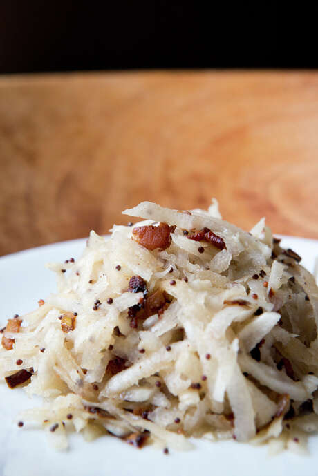 A Kohlrabi Slaw with Warm Bacon and Mustard Seed Dressing. Photo: Tim Hussin / Special To The Chronicle / ONLINE_YES