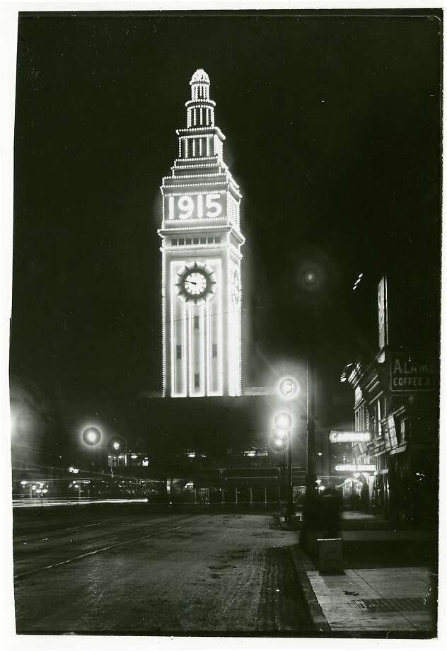 Lights on the Ferry Building, shown as it looked during the 1915 Panama Pacific International Exposition, go on one last time at 4:15 p.m. Friday. Photo: California Historical Society