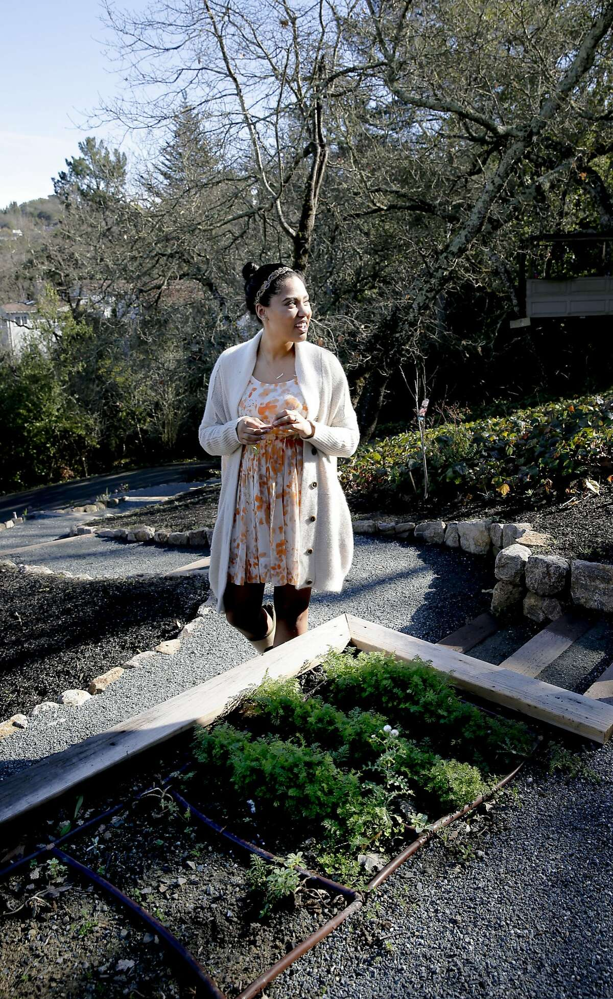Ayesha Curry the wife of Warriors basketball star Stephen Curry with a small winter garden where she grows carrots at their Orinda, Calif. home, as seen on Tues. January, 20, 2015.