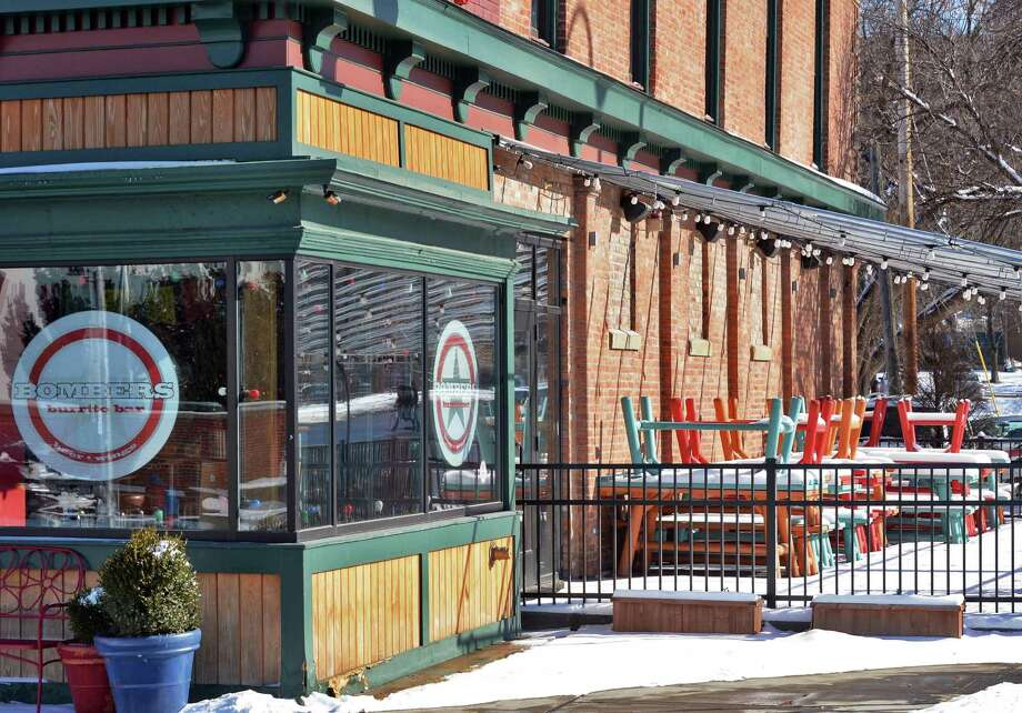 Outdoor tables at  Bombers Burrito Bar at King and Federal Streets Wednesday Jan. 28, 2015, in Troy, NY.  (John Carl D'Annibale / Times Union) Photo: John Carl D'Annibale