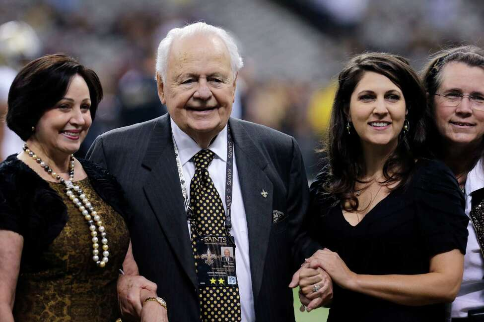 New Orleans Saints owner Tom Benson poses for a photo with his wife Gayle Benson and his granddaughter, co-owner Rita Benson LeBlanc, before an NFL football game against the Minnesota Vikings in New Orleans, Sunday, Sept. 21, 2014. At far right is Renee Benson. daughter of Tom Benson and mother of Rita Benson LeBlanc. (AP Photo/Bill Haber)