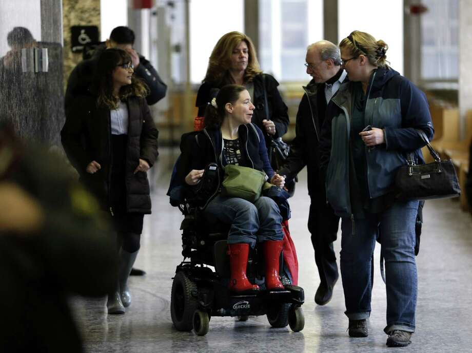Shira Patz, sister of Etan Patz, center, and Stan Patz, father of Etan Patz, second from right, arrive at court in New York, Monday, Feb. 2, 2015. Thirty-five years after the disappearance of  6-year-old Etan Patz in Manhattan ushered in an era of protectiveness for America's children, a trial began Friday for Pedro Hernandez, a mentally ill man with a low IQ who confessed to his murder and kidnapping. (AP Photo/Seth Wenig) ORG XMIT: NYSW104 Photo: Seth Wenig / AP