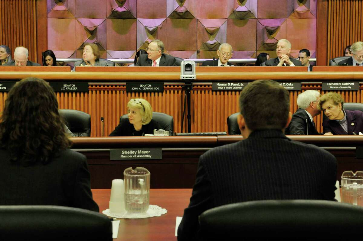 Senators and Assembly members take part in a Legislative hearing on the Health and Medicaid budget at the Legislative Office Building on Monday, Feb. 2, 2015, in Albany, N.Y. (Paul Buckowski / Times Union)