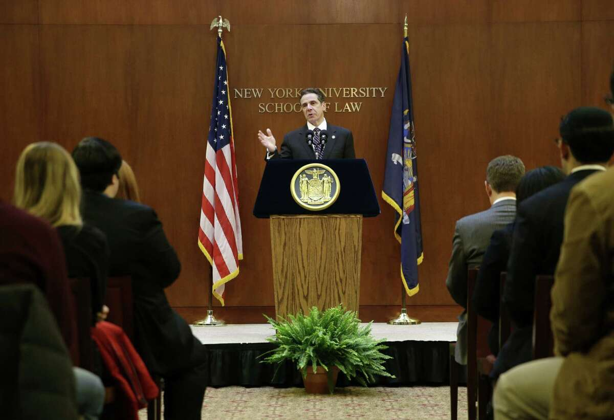New York Governor Andrew Cuomo speaks at New York University in New York, Monday, Feb. 2, 2015. Cuomo said he won't sign a budget for the state this year that doesn't include an ethics plan for legislators. (AP Photo/Seth Wenig) ORG XMIT: NYSW115