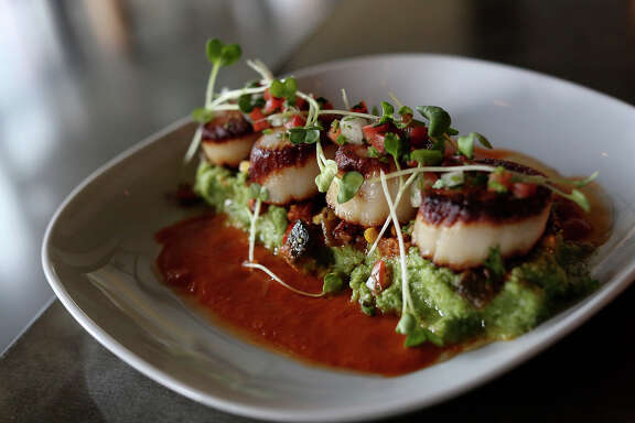 George's Bank Diver Sea Scallops at Arcade Midtown Kitchen at The Pearl.
