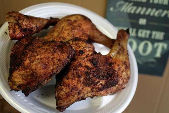Chicken leg quarters at Big Bib BBQ.