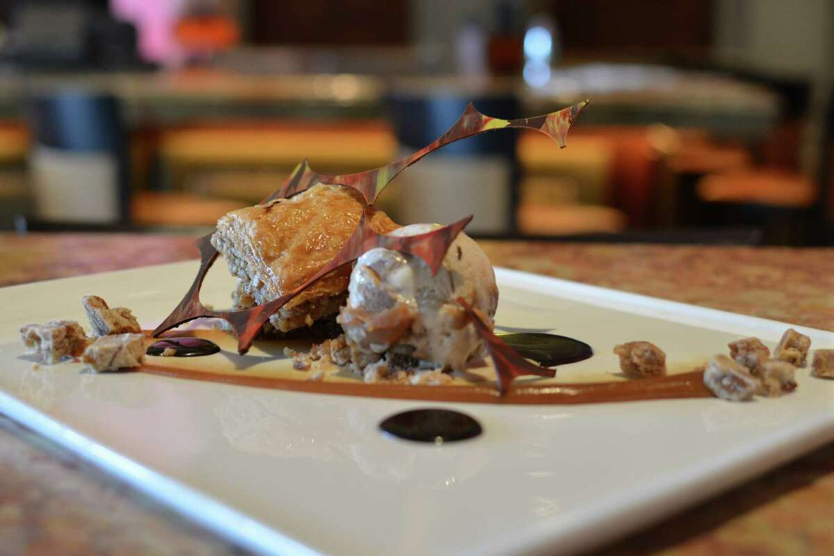 Baklava with Pralines, Cajeta Cinnamon Ice Cream and Salted Chocolate Crunch at Sustenio restaurant.